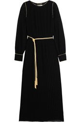 Saint Laurent Pleated Crepe Midi Dress Black