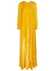 Arthur Arbesser Yellow Velvet Long Sleeve Gown