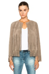 Theperfext April Fringe Suede Jacket In Gray