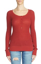 1.State Women's Waffle Knit Cotton Henley Tee Maple Leaf