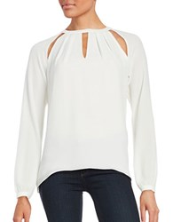 Michael Michael Kors Textured Pleated Cutout Long Sleeve Blouse Ecru
