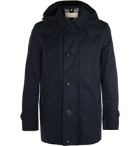 Burberry Hooded Cotton Blend Raincoat Blue