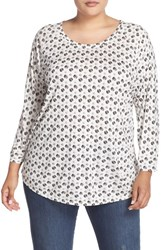 Sejour Plus Size Women's Dot Print Three Quarter Sleeve Tee Ivory Cloud Dot Print