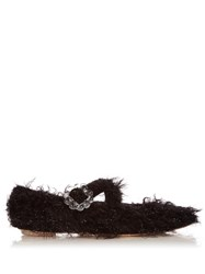 Simone Rocha Cross Strap Tinsel Flats Black