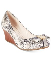 Cole Haan Tali Grand Bow Wedges Women's Shoes Natural Snakeskin