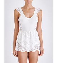 For Love And Lemons Skivvies Daisy Lace Playsuit Ivory