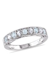 Sterling Silver Alternating Sky Blue Topaz And Created White Sapphire Ring Metallic