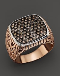 John Hardy Men's Classic Chain Bronze And Sterling Silver Brown Diamond Pave Large Ring Black