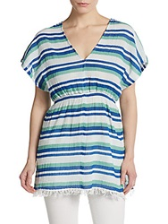 Saks Fifth Avenue Red Striped Gauze Tunic