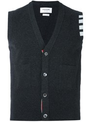 Thom Browne Sleeveless Cardigan Grey