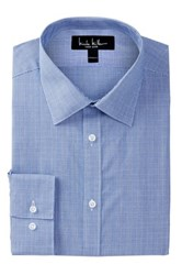 Nicole Miller Long Sleeve Modern Fit Glen Plaid Dress Shirt Blue