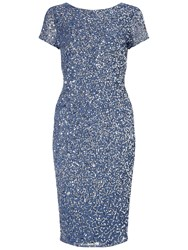 Adrianna Papell Short Beaded Cocktail Dress Nile Blue