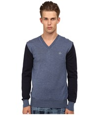 Vivienne Westwood Color Block V Neck Pullover Navy Blue