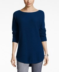 Charter Club Petite Cashmere Boat Neck High Low Sweater Only At Macy's Moonlit Blue