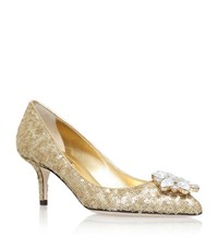 Dolce And Gabbana Bellucci Sequin Pumps 60 Female Gold