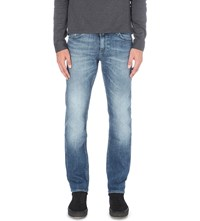 Hugo Boss Faded Slim Fit Tapered Jeans Bright Blue
