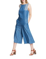 Plenty By Tracy Reese Embroidered Culotte Jumpsuit Blue