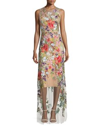 Jenny Packham Sleeveless Floral Applique Gown Illusion Women's