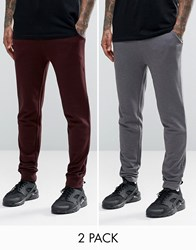 Asos Skinny Jersey Joggers 2 Pack Charcoal Burgundy Charcoal Oxblood Multi