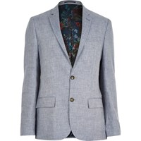 River Island Mens Grey Linen Floral Lined Slim Blazer