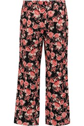 Marni Floral Print Cotton And Silk Blend Straight Leg Pants Black
