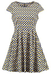 Louche Ineesha Summer Dress Navy Mustard Dark Blue