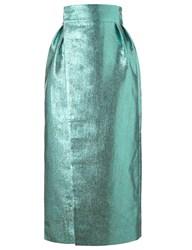 Vika Gazinskaya Metallic Green Wrap Skirt