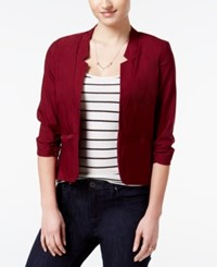 Amy Byer Bcx Juniors' Ruched Sleeve Open Front Blazer Red