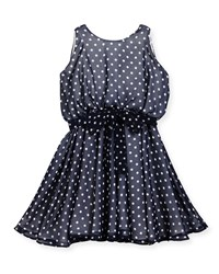 Helena Sleeveless Polka Dot Georgette Dress Navy