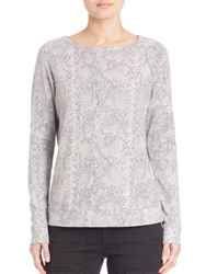 Joie Soft Annora Snake Print Pullover Fossil Grey