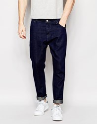 Asos Bow Leg Jeans In Indigo In Drapey Fabric Blue