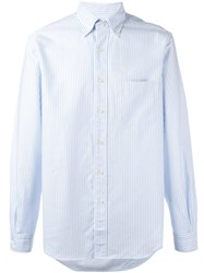 Massimo Piombo Mp Button Down Collar Striped Oxford Shirt Blue