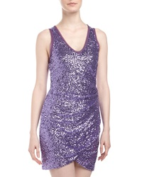 Ali Ro V Neck Ruched Sequin Dress Electric Purple