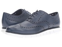 Cole Haan Zerogrand Wing Ox Black Iris Glove Open Holes Leather White Leather Men's Lace Up Wing Tip Shoes Blue