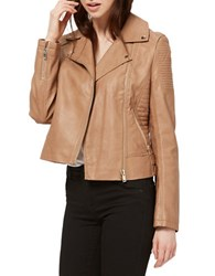 Miss Selfridge Faux Leather Biker Jacket Brown