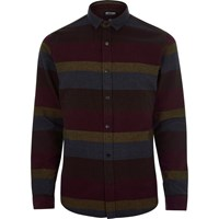 River Island Mensdark Red Stripe Only And Sons Shirt