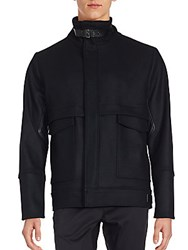 Porsche Buckle Mandarin Collar Jacket Black