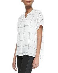 Vince Windowpane Print Loose Silk Blouse Women's Off White Black
