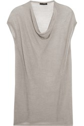 Donna Karan Draped Open Knit Cashmere Top Gray