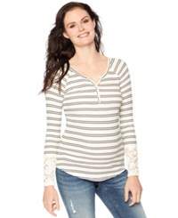 Wendy Bellissimo Maternity Lace Sleeve Striped Henley Top