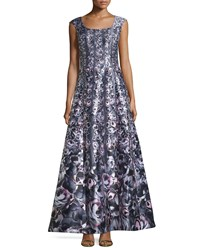 Kay Unger New York Cap Sleeve Floral Print Gown Gray Multi