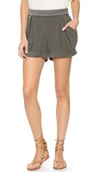 James Jeans Pull On Pleated Petal Shorts Hunter Green