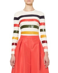 Carolina Herrera Sequin Striped Crewneck Sweater Multicolor Multi Color