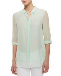 Elie Tahari Crista Long Sleeve Sheer Blouse Mint