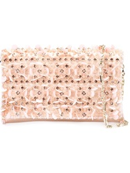 Oscar De La Renta Embroidered Clutch Pink And Purple