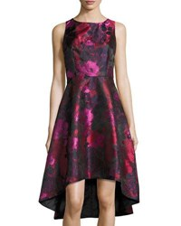 Chetta B Floral Print Sleeveless High Low Dress Red Pattern