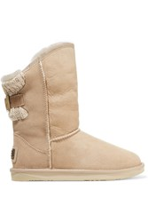 Australia Luxe Collective Spartan Ribbed Paneled Shearling Boots White