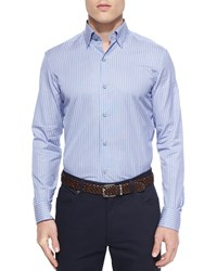 Ermenegildo Zegna Striped Woven Sport Shirt Blue