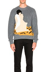 3.1 Phillip Lim Cropped Novelty Intarsia Pullover In Gray
