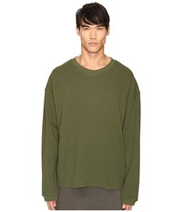 Adidas Originals By Kanye West Yeezy Season 1 Long Sleeve Thermal Tee Rifle Green Men's T Shirt